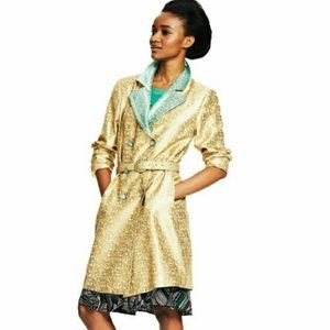 Duro Olowu For Jcp Mint Brocade Long Trench Jacket